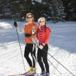 Stock Photo: Cross Country Snow Skiiers Smiling