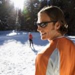 Man and Woman Snow Skiing — Stock Photo