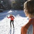 Man and Woman Snow Skiing — Stock Photo