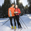 Stock Photo: Cross Country Snow Skiiers Smiling at Each Other