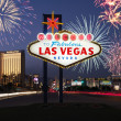 Las Vegas Welcome Sign with Fireworks in Background - Stock Photo