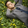 Businessman Lying in Flower Patch - Foto Stock