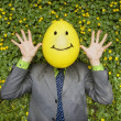 Businessman with Happy Balloon Face — Stock Photo