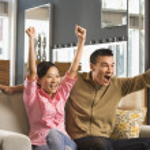 Couple watching TV. — Stock Photo #9227403