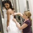 Seamstress helping bride. — Stock Photo