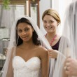 Foto Stock: Seamstress helping bride.