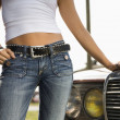 Stock Photo: Attractive womwith car.