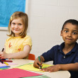 Stock Photo: Boy and Girl in Art Class