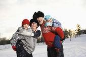 Family piggybacking. — Stock Photo
