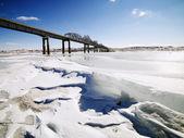 мост в зимний период — Стоковое фото