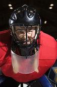 Woman hockey goalie. — Stock Photo