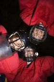 ženy hokejový hráč choulí. — Stock fotografie