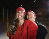 Female hockey players. — Stock Photo