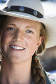 Attractive Young Woman Wearing Cowboy Hat — Stock Photo