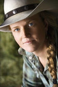 Attractive Young Woman Wearing a Cowboy Hat — Stock Photo