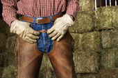 Man in Front of Hay Bales — Stock Photo
