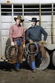 Two Men Wearing Cowboy Hats Holding Lariats — Stock Photo