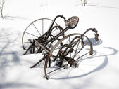 Metal plow in snow — Stock Photo