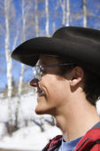 Cowboy in winter. — Stock Photo
