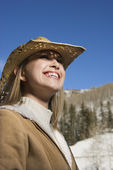 Woman in cowboy hat. — Stock Photo