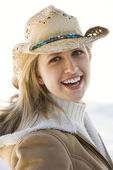 Woman with cowboy hat. — Stock Photo