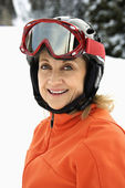 Portrait of Smiling Female Skier — Stock Photo