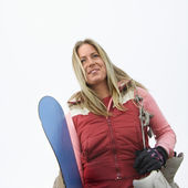 Woman with snowboard. — Stock Photo