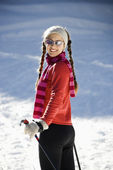 Female Snow Skiier — Stock Photo