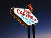 Leaving Las Vegas Sign at Night — Stock Photo