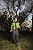 Young Businessman Holding Shovel — Stock Photo