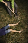 Businessman Burying Dead Body — Stock Photo