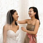 Smějící se nevěsta a družička. — Stock fotografie