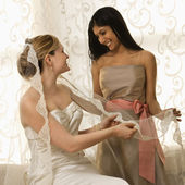 Bridesmaid holding bride's veil. — Stock Photo