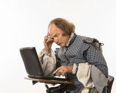 Shakespeare using laptop. — Stock Photo