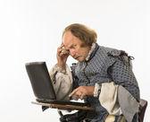 Shakespeare using laptop. — Stock Photo