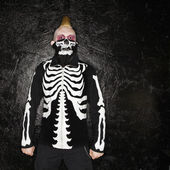 Punk with skeleton costume. — Stock Photo