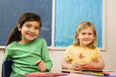 Two Girls in Classroom. — Stock Photo