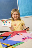 Young Girl in Art Class — Stock Photo