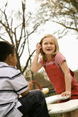 Young Girl and Boy Playing on Playground — Stock Photo
