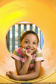 Young Girl at Playground Smiling — Stock Photo