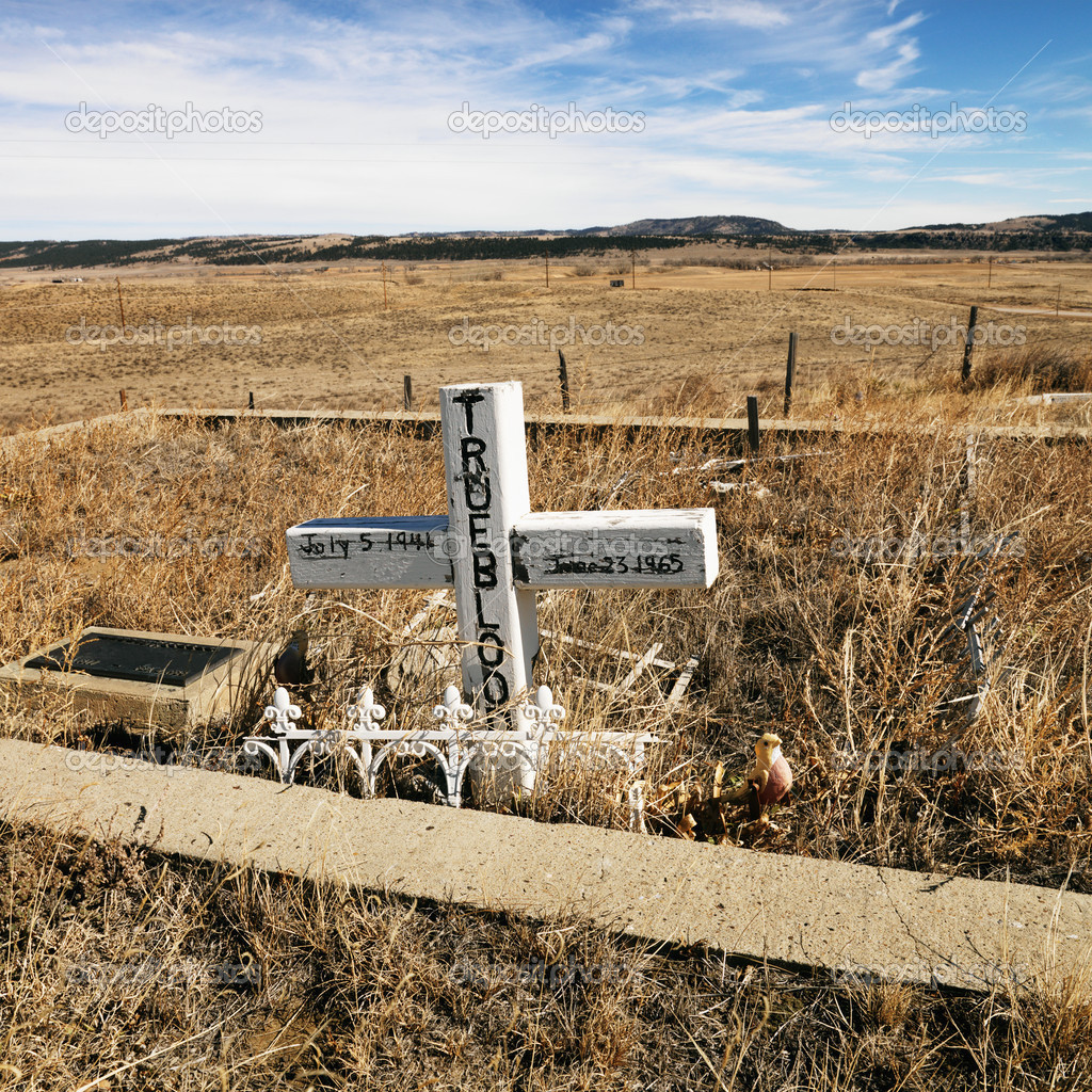 A cross tombstone in cemetery with landscape in background. — Stock Photo #9225384
