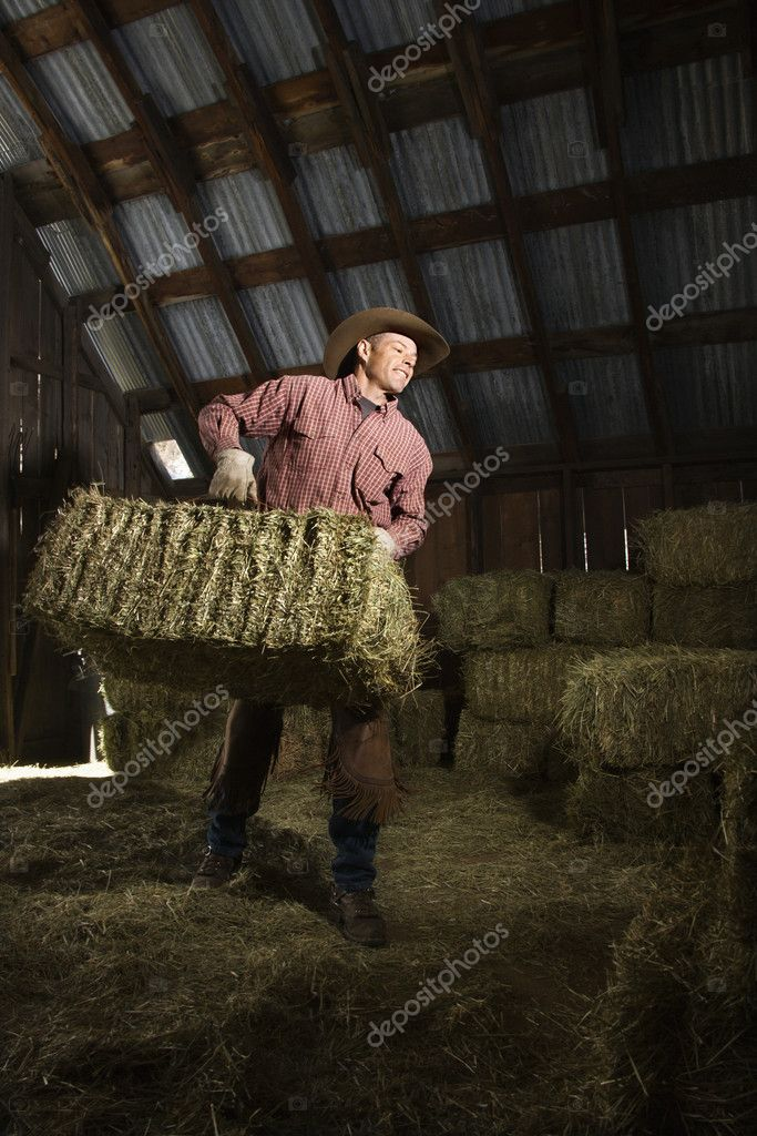 Man wearing a cowboy hat and carrying bales of hay in the barn. Vertical shot.  Stock Photo #9226001