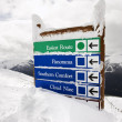 Snow covered sign. - Stockfoto