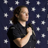 Patriotic policewoman. — Stock Photo
