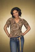 Sorridente donna afro-americana. — Foto Stock