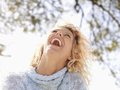 Happy laughing woman — Stok fotoğraf