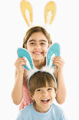 Children in bunny ears. — Stock Photo