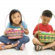 Stock Photo: Children with Easter baskets.