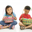 Children with Easter baskets. - Stock Photo