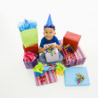 Boy with presents. — Stock Photo
